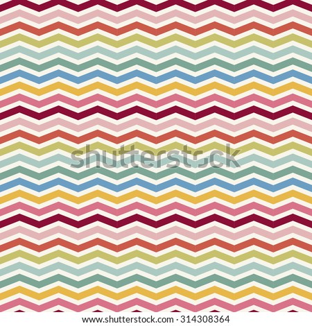 Abstract Retro Geometric colorful seamless pattern with chevron. Vector Illustration - stock vector