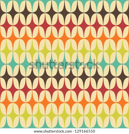 Abstract Retro Geometric seamless pattern with triangles. Vector Illustration - stock vector