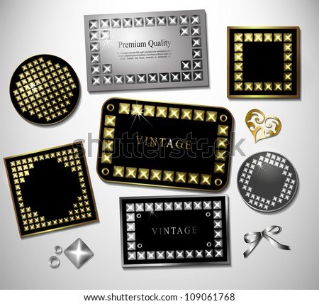 Abstract retro label and  sticker with stud and retro bowl. Design template, card can be used banners, invitation, congratulation or website layout vector.Silver, gold metal stud - stock vector