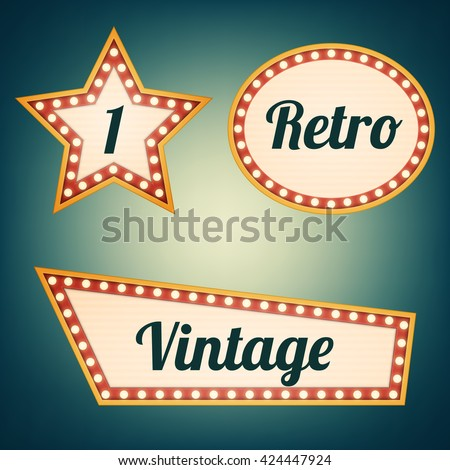 Abstract retro light banners set. Vector illustration. Theater or cinema signs with a glamorous feel.