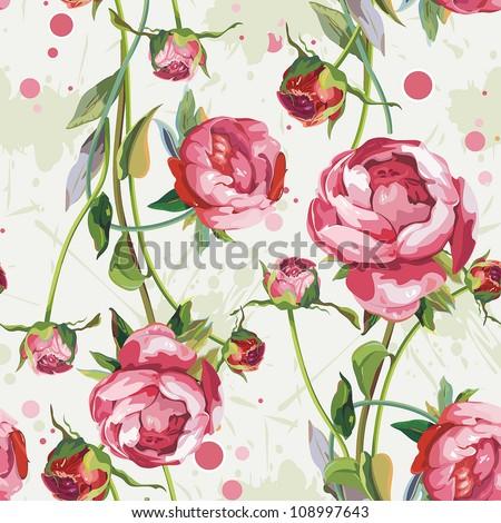 Abstract Retro Seamless Peony Wallpaper Pattern Elegance Background Vector Illustration