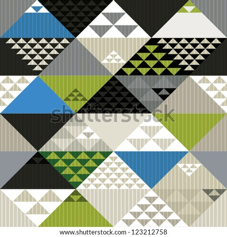 Abstract retro style geometric seamless pattern, vector background. - stock vector