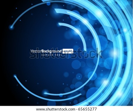 Abstract retro technology circles with bokeh vector background - stock vector