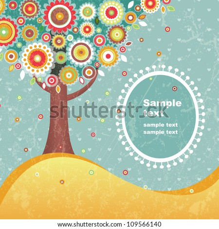 Abstract retro tree with place for text. EPS 10 vector illustration.Contains transparency effects and clipping mask. - stock vector