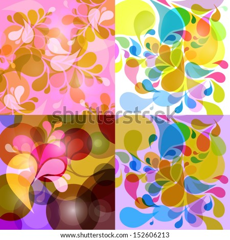 Abstract Retro, Vintage Vector Background With Colorful Water Drops