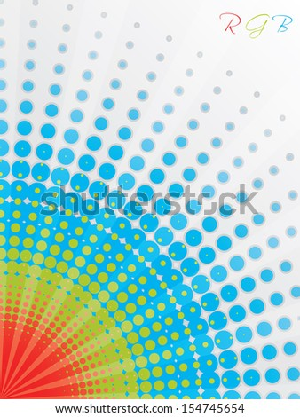 Abstract rgb background design with huge halftones - stock vector