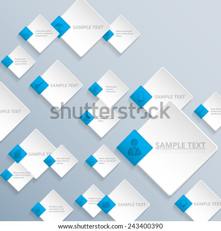 Abstract rhombus background design with various business communication icons - stock vector