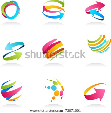 Abstract ribbons and arrows icons collection - stock vector