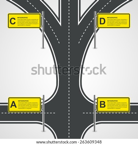 Abstract Road And Street Business Infographic Design Concept. Vector Illustration. - stock vector