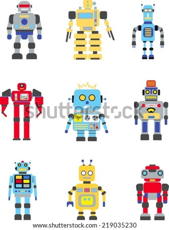 Abstract robots set isolated on white background. Vector illustration - stock vector