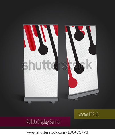 Abstract roll up banner display template for designers, vector eps 10 - stock vector