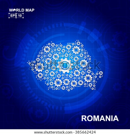 Abstract Romania gear map. Vector design