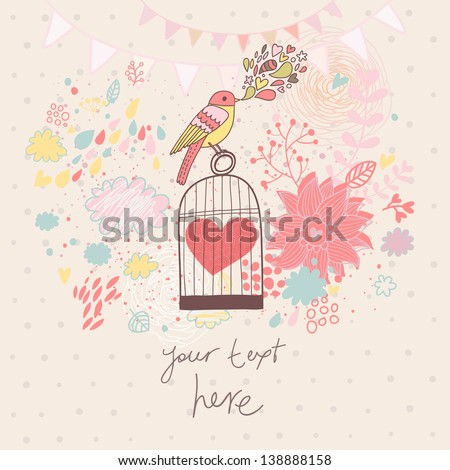 Abstract romantic card in pastel colors. Bright background with bird, cage, flowers and clouds. Freedom concept wallpaper