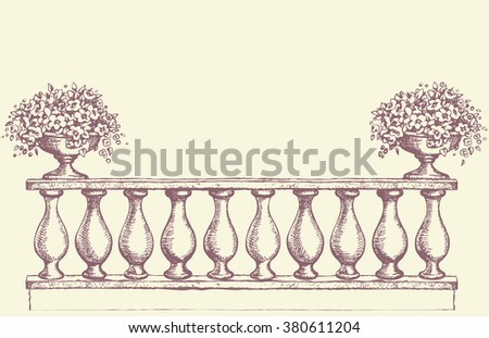 Abstract romantic classic outdoor elegant carving newel bannister with bloom petunia in old bowl on luxury patio. Vector freehand ink drawn sketch backdrop in art antiquity scribble style pen on paper - stock vector