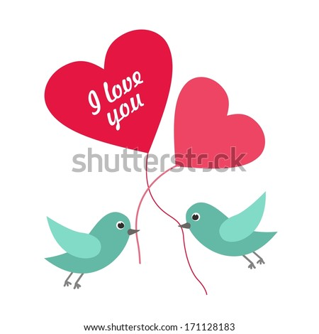 Abstract romantic concept with the birds. Vector background