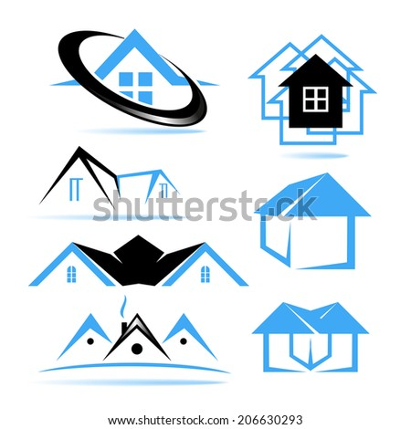 abstract roof design concept for real estate agencies vector logo design template