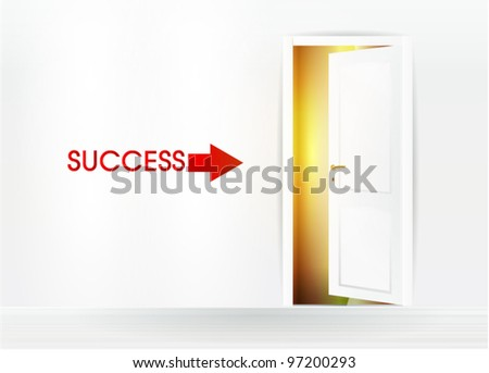 Abstract room with open doors to success - stock vector