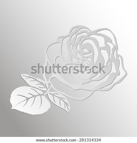 Abstract Rose cut out of paper on  paper background Vector illustration - stock vector