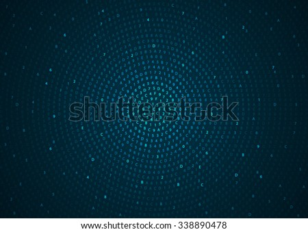 Abstract round computer hex code blue background. Vector illustration - stock vector