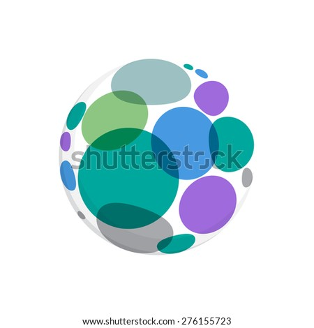 Abstract round dots logo, vector template for your design.