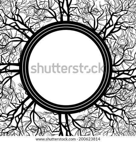 Abstract round frame of the branches of the tree. Vector