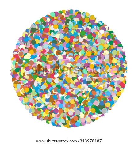 Abstract Rounded Colourful Vector Confetti Heap Shape on White Background - Dots, Polka Dots, Points, Symbol, Icon - Template
