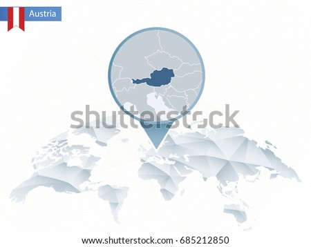Infographic Austria Detailed Map Austria Flag Stock Vector - Austria on world map