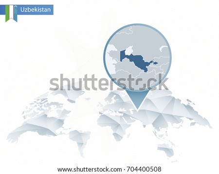 World map magnifying on uzbekistan blue vectores en stock 421334938 abstract rounded world map with pinned detailed uzbekistan map vector illustration gumiabroncs Images