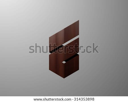 Abstract royal icon with wooden texture. Logo design. Vector illustration - stock vector
