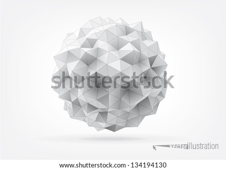 abstract rumpled sphere with triangular faces for graphic design - stock vector