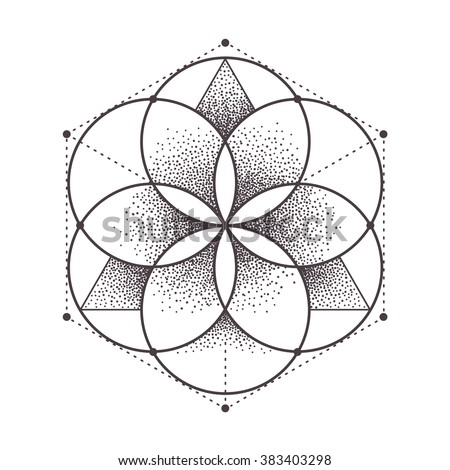 Abstract sacred geometry. Geometric symmetric pattern isolated on white. Vector illustration. - stock vector