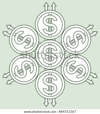 Abstract sacred geometry pattern with the dollar symbol coins