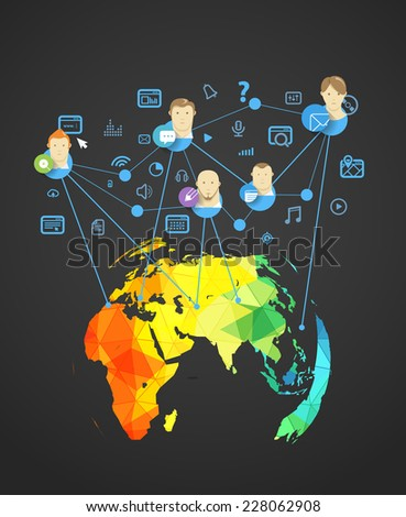 Abstract scheme of modern social network. Design elements - stock vector
