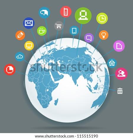 Abstract scheme of social media network - stock vector