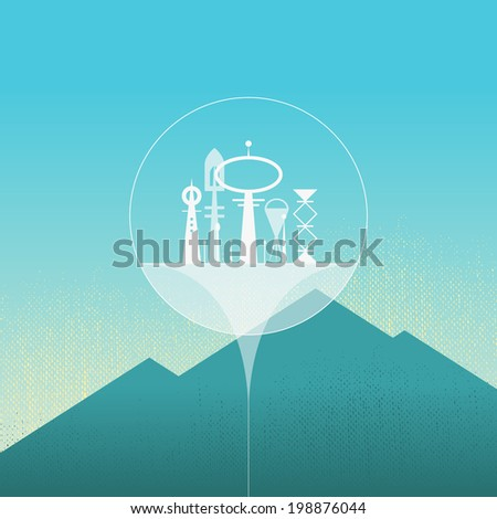 Abstract sci-fi city in air, with minimal mountains on background. Future concept. Fantastic city, with bubble shield. Easy to edit. Vector illustration - EPS10. - stock vector
