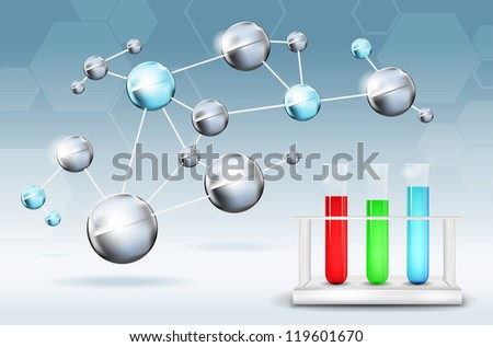 Abstract science background with molecules and test tubes - stock vector