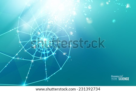 Abstract science design with polygons and triangles. Vector illustration. - stock vector
