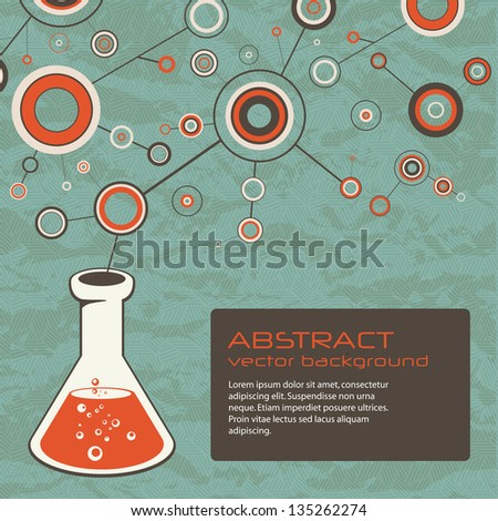 Abstract scientific background with flask - stock vector