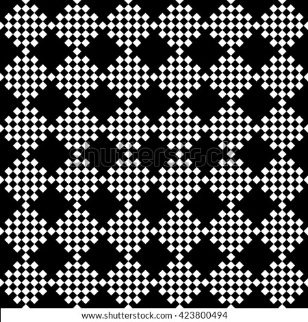 abstract scott pattern background with black and white.monochrome pixel art.ornament vector - stock vector