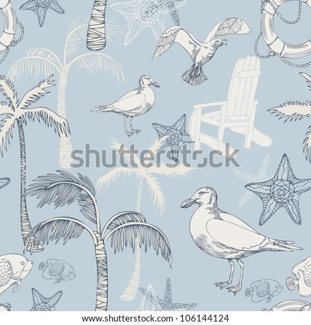 Abstract sea background, beach theme fashion seamless pattern, beautiful exotic vector wallpaper, vintage fabric, blue wrapping with seagull and palm ornaments - summer, maritime theme for design - stock vector