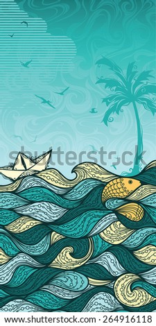 Abstract sea background. Sea, palm, summer, fish, paper ship, gulls. Summer vertical background for your design. There is blank place for your text in the sky.  - stock vector