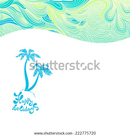 abstract sea background with palms