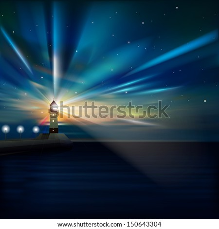 abstract sea background with sunrise and lighthouse