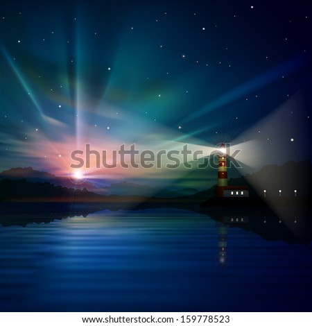 abstract sea background with sunrise in mountains and lighthouse