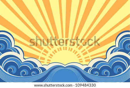 Abstract sea waves. Vector illustration of seascape background - stock vector