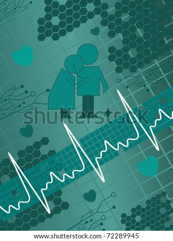 abstract seagreen medical background, vector illustration - stock vector