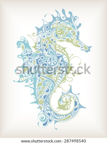 Abstract Seahorse - stock vector
