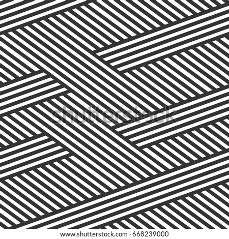 Abstract seamless background. Black-and-white stripes. Intertwined