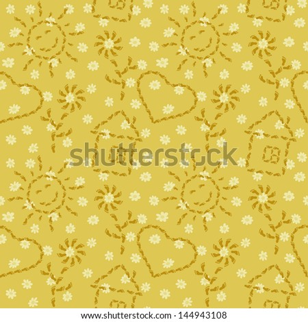Abstract seamless background, pattern of smiling suns, flowers, houses and hearts from human footprints. Vector - stock vector