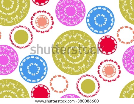 Abstract seamless background pattern with circles elements . Vector illustration , for fabric ,  wrapping, craft paper.